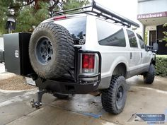 Aluminum Off Road Rear Bumper with Spare Tire Carrier and Storage Box for the Ford Excursion