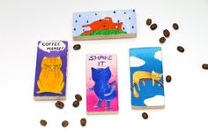 Cat magnet painting - Magnet fridge - Cat fridge magnet - Hand painted refrigerator magnet - Original miniature painting - Cat art - Kitchen decor
