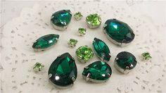 crystal mix lot 13pcs green crystal sew on by MissVirgocraftsupply