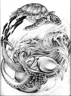 Ideas Tattoo Sleeve Ocean Sea For can find Ocean tattoos and more on our Ideas Tattoo Sleeve Ocean Sea For 2019 Ocean Sleeve Tattoos, Half Sleeve Tattoos Drawings, Octopus Tattoo Sleeve, Octopus Tattoo Design, Octopus Tattoos, Tattoo Sleeve Designs, Animal Tattoos, Arm Tattoo, Turtle Tattoos
