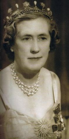 Dorothy, the Marchioness of Cambridge wearing her diamond star and pearl tiara