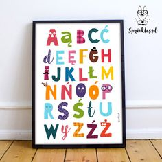 Kids wall decor, alphabet, colorful posters.