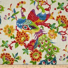 "Richloom Preen Fiesta Peacock Bird Curtain Panels,  84"", 96"" or 108"" 120"" Linen Blend Designer Drapes"
