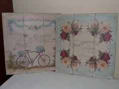 Cuadros Vintage, realizados sobre tabla simulando tríptico y papel de decoupage envejecido