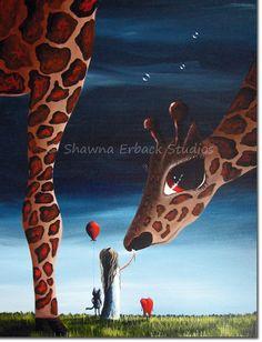 BIG EYE PRINT giraffe friends Girl Child whimsical di shawnaerback