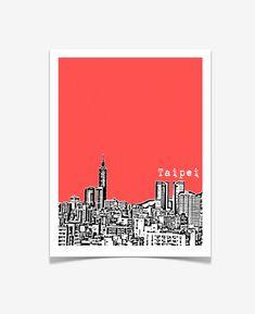 Taipei Taiwan Poster City Skyline Art Print by BugsyAndSprite