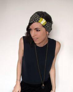 Headband kilin yellow and black, dots white