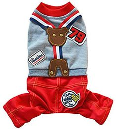 358db957a7 Amazon.com   Haogo Pet Puppy Overalls Small Dog Pet 4 foot Suspender  Trousers Grey