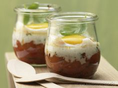Pikante Eier im Glas mit Paprika, Chili und Basilikum - smarter - Kalorien: 190 Kcal | Zeit: 45 min.