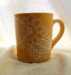 Yellow Coffee Mug Painted with a Henna Design via Etsy