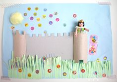Decora Recicla Imagina - Princess Collage - a step by step tutorial in pictures (Spanish site but she has tons of pictures.) Use this to study setting in a story! Craft Activities For Kids, Projects For Kids, Diy For Kids, Craft Projects, Crafts For Kids, Arts And Crafts, Paper Crafts, Diy Crafts, Castle Crafts