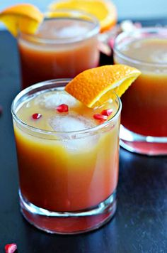 Tequila Sundown: tequila, orange juice, and pomegranate juice come together in this tasty cocktail