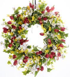 Tulip, Forsythia & Dogwood Spring Silk Wreath - Spring Wreath