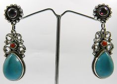silver 925 classical nepali filigree design Turquoise gemstone earrings jewelry #Magicalcollection #ChainLink