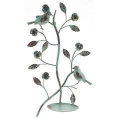 Antiqued Distressed Blue Metal Bird Flowers Leaves Candle Holder Wall Sconce * Click on the image for additional details.