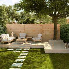 Zusammensetzung Classic 3 Platten L 612 x H 200 cm zum Verschrauben - Garden Types Backyard Garden Design, Small Backyard Landscaping, Small Patio, Landscaping Ideas, Modern Backyard, Garden Types, Back Gardens, Outdoor Gardens, Backyard Makeover