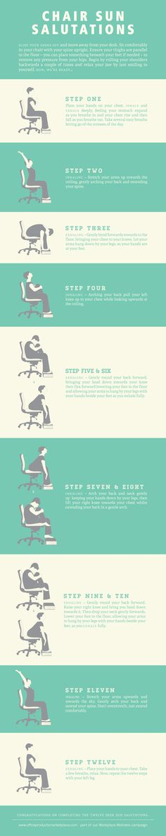 Here is a great info-graphic that explains the many yoga poses you can accomplish at your desk (or anywhere for that matter). Leave a comment as to where you love to practice yoga! For More Yoga Routines and Health Tips Visit Our Website Yoga Stretching, Yoga Pilates, Pilates Reformer, Tai Chi, Office Yoga, Office Exercise, Beginner Yoga, Yoga For Beginners, Business Yoga