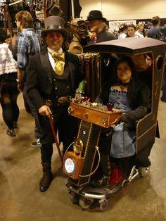 "Calgary Comic Expo 2013  [ how 'bout a steampunk rickshaw? Or sedan(?) chair (the chair of ""cheerio"")? A rickshaw or sedan chair bellowing steam? Or has gears whirring? ]"