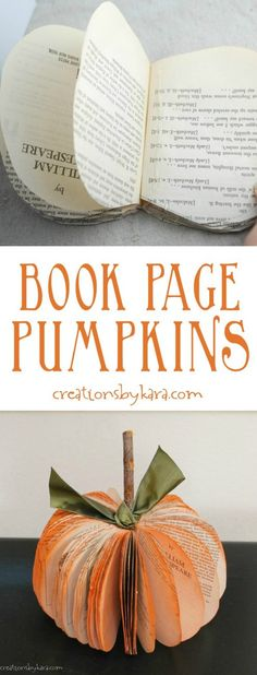 These Book Page Pumpkins are easy to make, and make such cute fall decor!