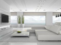 Aranżacja salonu wystrój nowoczesny, minimalistyczny w kolorach biel - projekt wnętrza #4945, Homplex