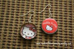 Hello Kitty Bottle Cap Earrings  See more cute jewelry at: www.madewithlovejewelry.weebly.com