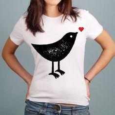 Bird Heart - Gals T-shirt Fox, V Neck, Bird, Heart, Spring, T Shirt, Collection, Women, Fashion