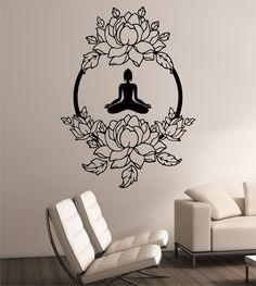 Lotus Wall Decal MEDITATION Sticker Art Decor Bedroom Design Mural interior design buddha namaste yoga peace lotus flower