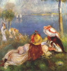 Pierre-Auguste Renoir (French 1841–1919) [Impressionism] Girls on the seashore, 1894.