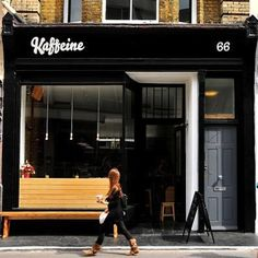 25 Coffee Shops Around The World You Have To See Before You Die - Kaffeine - coffee shop in London Coffee Shop Design, Cafe Design, Coffee Shop Branding, Interior Design, Interior Ideas, Cafe Restaurant, Restaurant Design, Restaurant Exterior, Modern Restaurant