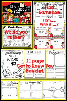 """Back to School is just around the corner. You can be ready with this awesome """"Get to Know Your Students"""" booklet and a super fun activity. """"I am ______, Who is _____?"""" There are 2 variations of this activity. Check out the preview for a better look at what you'll purchase. The booklet has 11 Fun pages. • Interesting Stuff About Me Cover • Find Someone ~ Students find someone that has something in common with the """"Find Someone grid and they sign their name. • Would You Rather ~ Students color…"""
