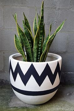 Fibre Glass Pot Medium - Chevron Black