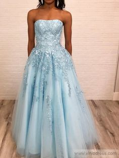 Strapless Lace Prom Dresses, Elegant A-line Long Prom Dresses Prom Dresses For Teens, Formal Dresses For Weddings, Grad Dresses, Cheap Prom Dresses, Homecoming Dresses, Formal Gowns, Fall Dresses, Formal Wear, Bridesmaid Dresses