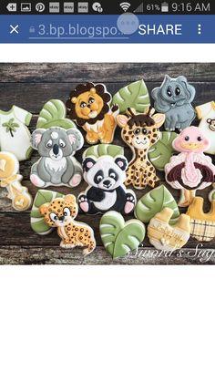 wild animal koala leopard giraffe or lion ostrich cookies