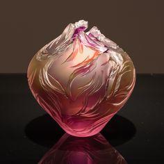 glass Art NEW__  Round Vase - Hyacinth, Gold, Topaz & Salmon by Lois Scott