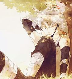 Anbu Kakashi attempting to nap and Naruto crawling on his head, making it impossible.