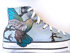 Hand painted high top converse women's size by JuditsPaintedStuff, $145.00