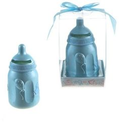 baby bottle coin bank poly resin - blue Case of 48