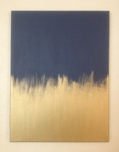 DIY Artwork- Navy and Gold Painted Canvas | The Suite Life Designs