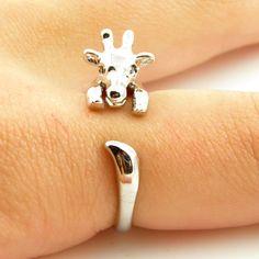 Giraffe Animal Wrap Ring - Shiny Silver
