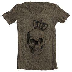 Womens Mens Unisex T shirt - ROYAL SKULL - Fashion American Apparel Tri Blend - Coffee (9 COLORS) - Sizes xs, s, m, l, xl  - (gcw). $20.00, via Etsy.
