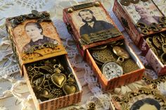 Colorful Adventures - steampunk altered matchboxes