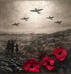 'For the Few' by Jacqueline Hurley War Poppy Collection Remembrance painting Spitfires Evacuees Battle of Britain World War Poppy Appeal Remembrance Day Pictures, Remembrance Day Quotes, Remembrance Day Activities, Remembrance Day Poppy, Remembrance Tattoos, Air Force Tattoo, Ww1 Art, War Tattoo, Armistice Day