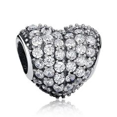 Hot Fashion Dazzling 925 Sterling Silver Heart Shape Charm Fit Pandora Bracelet with Clear Cubic Zirconia Jewelry Making Pandora Bracelet Charms, Bangle Bracelets With Charms, Heart Bracelet, Pandora Jewelry, Making Bracelets, Silver Rhinestone, Silver Charms, 14k Gold Jewelry, Valentines Jewelry