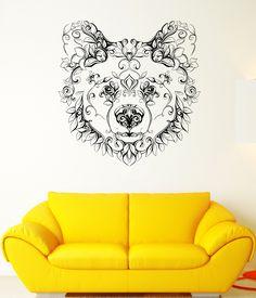 Wall Vinyl Sticker Decal Bear Head Animal Flower Character Patterns Arts (ed411)