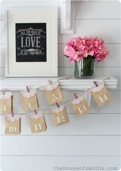 Valentines Shelf Decor - The House of Smiths  Print from Caravan Shoppe - http://www.caravanshoppe.com/product-category/chalk-art/