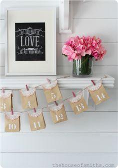 Valentines Shelf Decor - The House of Smiths  Print from Caravan Shoppe - http://www.caravanshoppe.com/product-category/chalk-art/