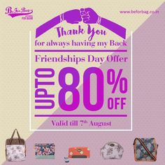 Thank your best friend for always being there for you. Amazing discounts this Friendship's Day! #friendshipsday #gifts #bags #discounts