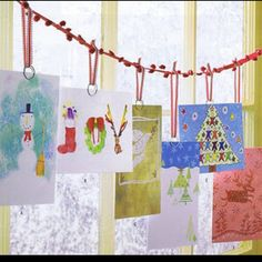 Christmas Card Display ~ Buy a string of Pom Poms at Michael's or JoAnn's to display your Holiday cards. Hanging Christmas Cards, Christmas Card Display, Christmas Window Decorations, Handmade Christmas Decorations, Christmas Love, Christmas Card Holders, Christmas Greetings, Winter Christmas, Holiday Crafts