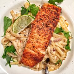 Tequila Lime Salmon + Fettuccini.  Absolutely delicious.