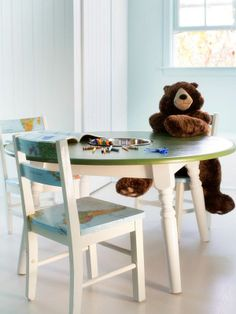 Turn an old kitchen table into kids' activity/homework station